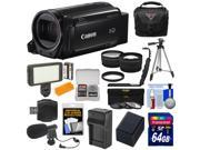 Canon Vixia HF R72 32GB Wi-Fi 1080p HD Video Camcorder + 64GB Card + Battery & Charger + Case + Tripod + LED Light + Microphone + Tele/Wide Lens Kit