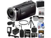 Sony Handycam HDR-CX455 8GB Wi-Fi HD Video Camera Camcorder with 64GB Card + Battery &Charger + Cases + Tripod + LED Light + Mic + Tele/Wide Lens Kit