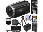Sony Handycam HDR-CX675 32GB Wi-Fi HD Video Camera Camcorder with 32GB Card + Battery & Charger + Case + Tripod + LED Light + 3 Filters + Kit