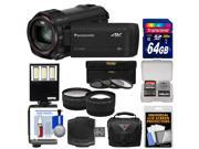 Panasonic HC VX981 Wi Fi 4K Ultra HD Video Camera Camcorder with 64GB Card Case LED Light 3 Filters Tele Wide Lens Kit