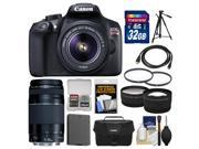 Canon EOS Rebel T6 Wi-Fi Digital SLR Camera & EF-S 18-55mm IS II with 75-300mm III Lens + 32GB Card + Case + Battery + Tele/Wide Lenses + Kit