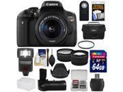 Canon EOS Rebel T6i Wi-Fi Digital SLR Camera & EF-S 18-55mm IS STM Lens with 64GB Card + Case + Grip + Tripod + Flash + Tele/Wide Lens Kit 9SIA63G42C8462