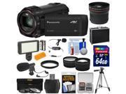 Panasonic HC-VX981 Wi-Fi 4K Ultra HD Video Camera Camcorder with 64GB + Case + Tripod + LED Light + 2 Mics + Filters + Fisheye, Tele/Wide Lenses Kit