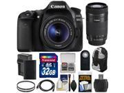 Canon EOS 80D Wi Fi Digital SLR Camera EF S 18 55mm IS STM with 55 250mm IS STM Lens 32GB Card Battery Charger Backpack Kit