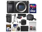 Sony Alpha A6300 4K Wi Fi Digital Camera Body with 64GB Card Case Battery Charger Tripod Strap Kit