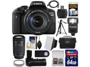 Canon EOS Rebel T6i Wi-Fi Digital SLR Camera & EF-S 18-135mm IS & 55-250mm IS STM Lens + 64GB Card + Case + Grip + Filters + Tripod + Flash + Kit