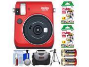 Fujifilm Instax Mini 70 Instant Film Camera (Passion Red) with 40 Prints + Case + Batteries + Tripod + Kit