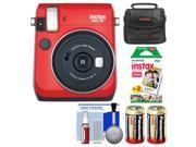 Fujifilm Instax Mini 70 Instant Film Camera (Passion Red) with 20 Prints + Case + Batteries + Kit