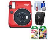 Fujifilm Instax Mini 70 Instant Film Camera (Passion Red) with 20 Twin & 10 Rainbow Prints + Case + Kit