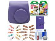 Fujifilm Groovy Camera Case for Instax Mini 8 (Grape) with Mini Wallet + 20 Twin Color & 10 Rainbow Prints + Wood Peg Clips + Cleaning Kit