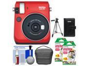 Fujifilm Instax Mini 70 Instant Film Camera (Passion Red) with 40 Prints + Case + Album + Tripod + Kit