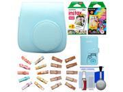 Fujifilm Groovy Camera Case for Instax Mini 8 (Blue) with Mini Wallet + 20 Twin Color & 10 Rainbow Prints + Wood Peg Clips + Cleaning Kit