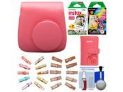 Fujifilm Groovy Camera Case for Instax Mini 8 (Raspberry) with Mini Wallet + 20 Twin Color & 10 Rainbow Prints + Wood Peg Clips + Cleaning Kit