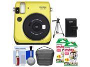 Fujifilm Instax Mini 70 Instant Film Camera (Yellow) with 40 Prints + Case + Album + Tripod + Kit