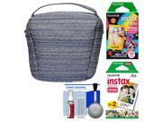 Fujifilm Camera Case for Instax Mini 8, 25, 70 & 90 (Blue) with 20 Twin Color & 10 Rainbow Prints + Cleaning Kit