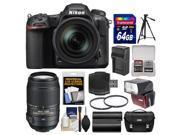 Nikon D500 Wi Fi 4K Digital SLR Camera 16 80mm VR with 55 300mm VR Lens 64GB Card Case Flash Battery Charger Tripod Kit