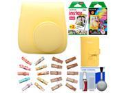 Fujifilm Groovy Camera Case for Instax Mini 8 (Yellow) with Mini Wallet + 20 Twin Color & 10 Rainbow Prints + Wood Peg Clips + Cleaning Kit