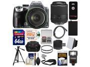 Pentax K-70 All Weather Wi-Fi Digital SLR Camera & 18-135mm WR Lens (Silver) with 55-300mm Lens + 64GB Card + Case + Flash + Battery + Tripod + Kit