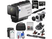 Sony Action Cam FDR-X3000 Wi-Fi GPS 4K HD Video Camera Camcorder with Finger Grip + Suction Cup + Helmet Mount + 64GB Card + Battery & Charger + Case + Kit 9SIA63G53D3317