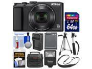 Nikon Coolpix A900 4K Wi Fi Digital Camera Black with 64GB Card Case Flash Battery Charger Tripod Selfie Stick Kit