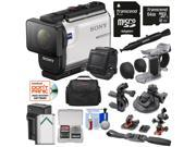 Sony Action Cam HDR-AS300R Wi-Fi HD Video Camera Camcorder & Remote + Finger Grip + Suction Cup + Helmet Mount + 64GB Card + Battery & Charger + Case Kit 9SIA63G54C5478