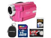 Vivitar DVR 508 HD Digital Video Camera Camcorder Pink with 32GB Card Case Kit