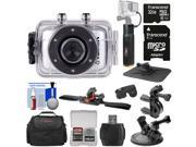 Vivitar DVR783HD HD Waterproof Action Video Camera Camcorder (Silver) with Helmet, Bike & Suction Cup Mounts + 32GB Card + Case + Power Bank Grip Kit 9SIA63G5846029