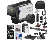 Sony Action Cam HDR-AS300R Wi-Fi HD Video Camera Camcorder & Remote + Helmet & Suction Cup Mounts + 64GB Card + Battery/Charger + Power Grip + Case Kit 9SIA63G5846026