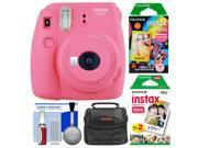 Fujifilm Instax Mini 9 Instant Film Camera (Flamingo Pink) with 20 Twin & 10 Rainbow Prints + Case + Cleaning Kit