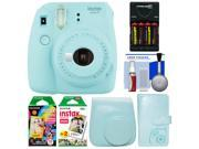 Fujifilm Instax Mini 9 Instant Film Camera (Ice Blue) with Case + Photo Album + 20 Twin & 10 Rainbow Prints + Batteries & Charger + Cleaning Kit