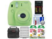 Fujifilm Instax Mini 9 Instant Film Camera (Lime Green) with 40 Twin Color Prints + Case + Batteries & Charger + Cleaning Kit