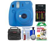Fujifilm Instax Mini 9 Instant Film Camera (Cobalt Blue) with 20 Twin Color Prints + Case + Batteries & Charger + Cleaning Kit