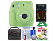 Fujifilm Instax Mini 9 Instant Film Camera (Lime Green) with 20 Twin Color Prints + Case + Batteries & Charger + Cleaning Kit