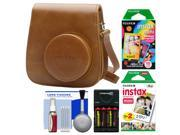 Fujifilm Groovy Case for Instax Mini 9 Instant Camera (Brown) with 20 Twin & 10 Rainbow Prints + Batteries & Charger + Cleaning Kit