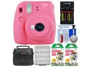 Fujifilm Instax Mini 9 Instant Film Camera (Flamingo Pink) with 40 Twin Color Prints + Case + Batteries & Charger + Cleaning Kit