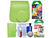 Fujifilm Groovy Case for Instax Mini 9 Instant Camera (Lime Green) with Photo Album + 20 Twin & 10 Rainbow Prints + Cleaning Kit