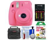 Fujifilm Instax Mini 9 Instant Film Camera (Flamingo Pink) with 20 Twin Color Prints + Case + Batteries & Charger + Cleaning Kit