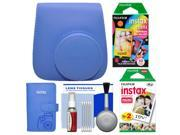 Fujifilm Groovy Case for Instax Mini 9 Instant Camera (Cobalt Blue) with Photo Album + 20 Twin & 10 Rainbow Prints + Cleaning Kit