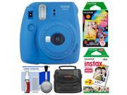 Fujifilm Instax Mini 9 Instant Film Camera (Cobalt Blue) with 20 Twin & 10 Rainbow Prints + Case + Cleaning Kit