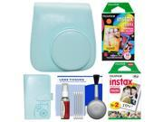 Fujifilm Groovy Camera Case for Instax Mini 9 Instant Camera (Ice Blue) with Photo Album + 20 Twin & 10 Rainbow Prints + Cleaning Kit