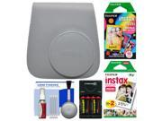 Fujifilm Groovy Case for Instax Mini 9 Instant Camera (Smokey White) with 20 Twin & 10 Rainbow Prints + (4) Batteries & Charger + Cleaning Kit