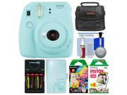 Fujifilm Instax Mini 9 Instant Film Camera (Ice Blue) with Photo Album + 20 Twin & 10 Rainbow Prints + Case + Batteries & Charger + Kit