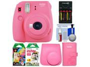 Fujifilm Instax Mini 9 Instant Film Camera (Flamingo Pink) with Case + Photo Album + 20 Twin & 10 Rainbow Prints + Batteries & Charger + Cleaning Kit