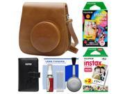 Fujifilm Groovy Case for Instax Mini 9 Instant Camera (Brown) with Photo Album + 20 Twin & 10 Rainbow Prints + Cleaning Kit