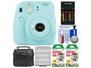 Fujifilm Instax Mini 9 Instant Film Camera (Ice Blue) with 40 Twin Color Prints + Case + Batteries & Charger + Cleaning Kit