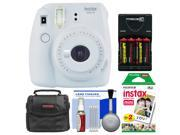 Fujifilm Instax Mini 9 Instant Film Camera (Smokey White) with 20 Twin Color Prints + Case + Batteries & Charger + Cleaning Kit