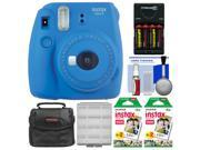 Fujifilm Instax Mini 9 Instant Film Camera (Cobalt Blue) with 40 Twin Color Prints + Case + Batteries & Charger + Cleaning Kit