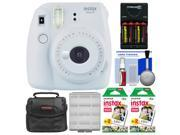 Fujifilm Instax Mini 9 Instant Film Camera (Smokey White) with 40 Twin Color Prints + Case + Batteries & Charger + Cleaning Kit