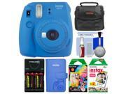 Fujifilm Instax Mini 9 Instant Film Camera (Cobalt Blue) with Photo Album + 20 Twin & 10 Rainbow Prints + Case + Batteries & Charger + Kit