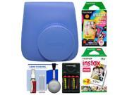 Fujifilm Groovy Case for Instax Mini 9 Instant Camera (Cobalt Blue) with 20 Twin & 10 Rainbow Prints + Batteries & Charger + Cleaning Kit